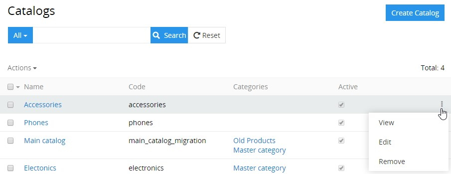Catalogs single record actions