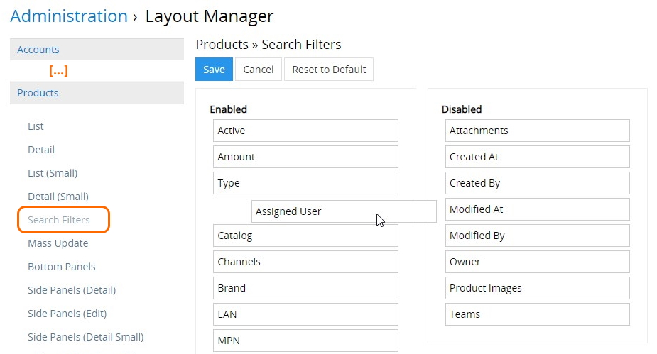 Layout mngr, search filters