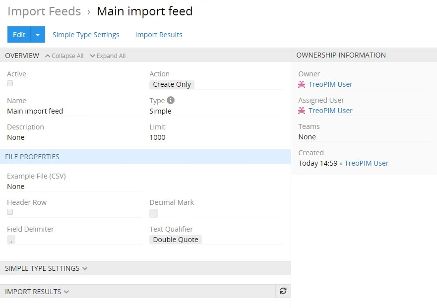 Import feed cfg