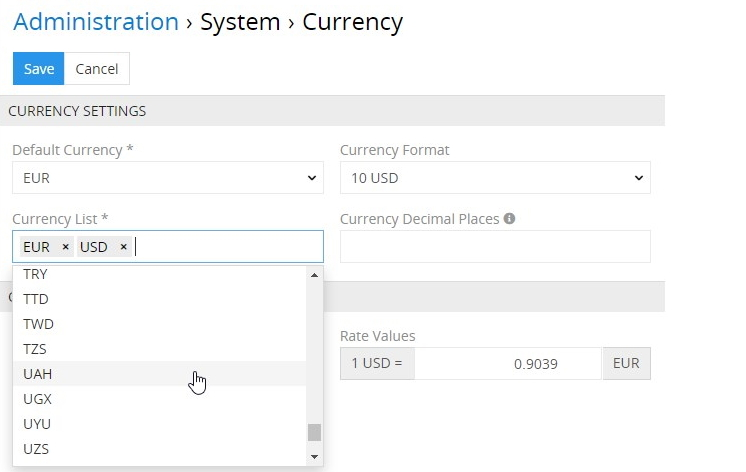 Currency list